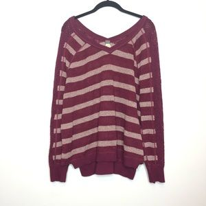 Free People Sweater Size M Maroon Striped Crochet